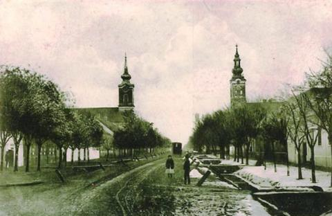 sove_ravno_selo_village_street_and_protestant_churches_in_1925