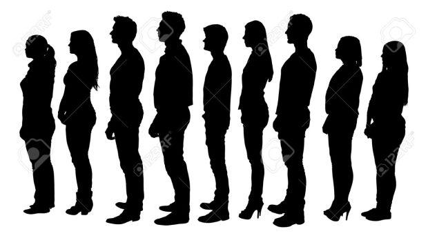 31536409-白い背景のラインに立ってシルエット人の完全な長さ。ベクトル画像